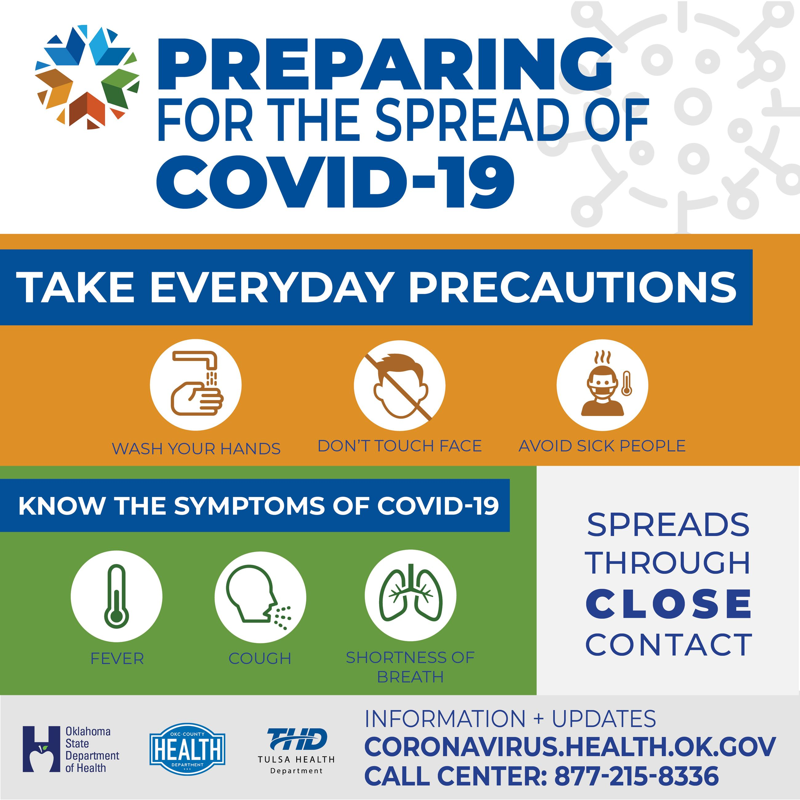 "Oklahoma State Department of Health Infographic ""Preparing for the Spread of COVID-19"""