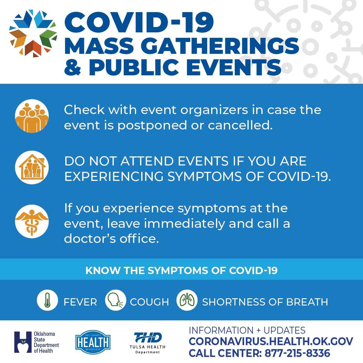 "Oklahoma State Department of Health Infographic ""COVID-19 Mass Gatherings & Public Events"""
