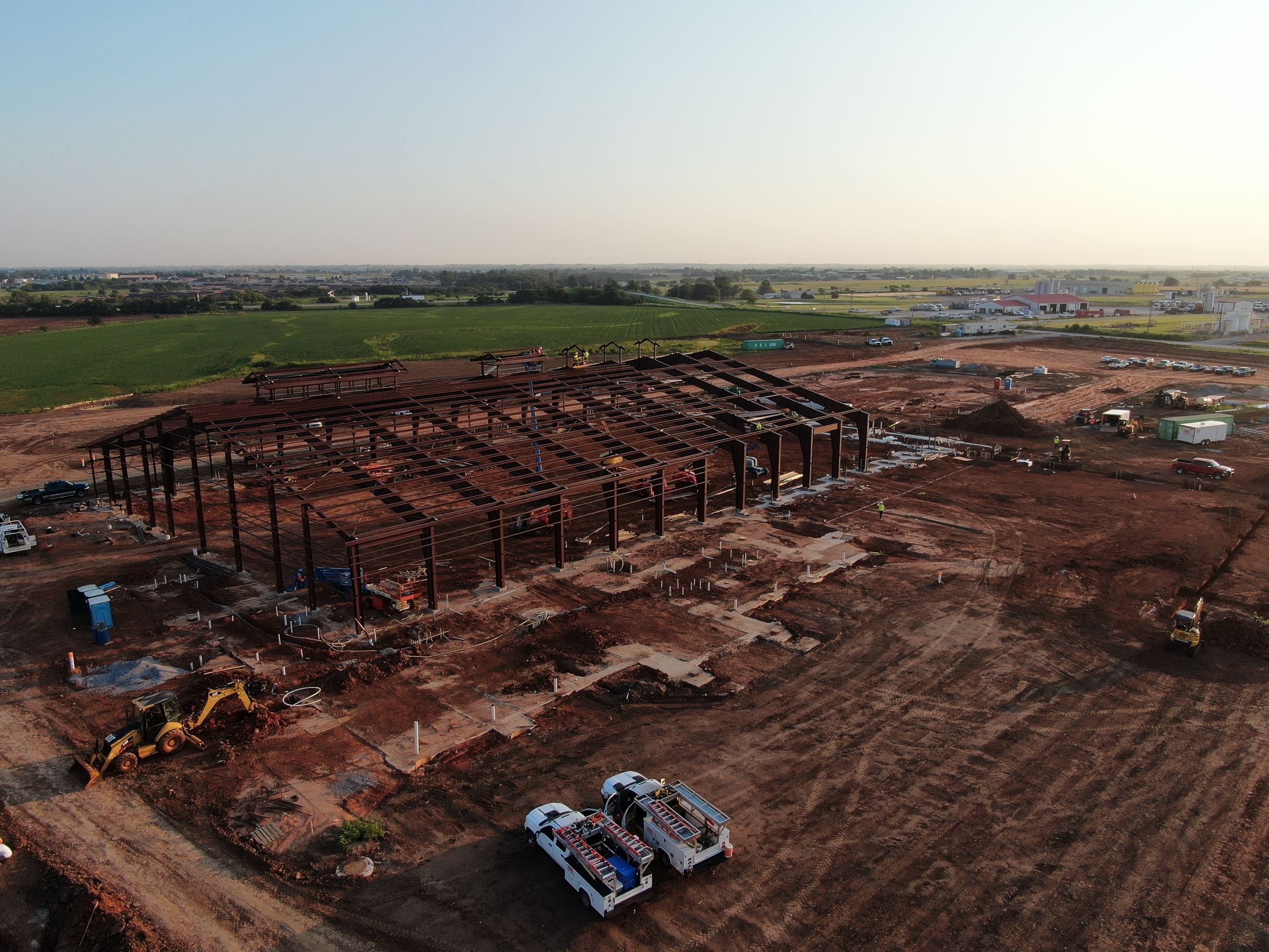 Drone shot looking North East at arena construction